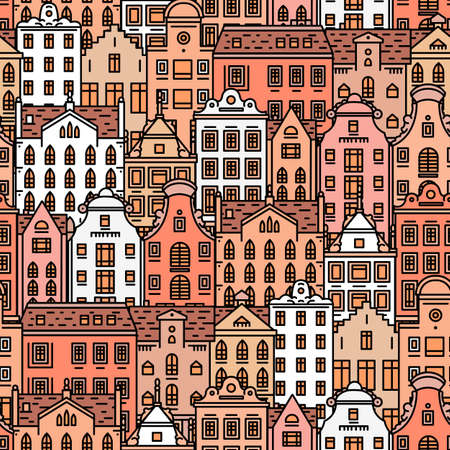 Europe house Seamless pattern. Cute architecture background. Neighborhood with classic apartments and cozy homes for Banner or poster. Doodle sketch.  イラスト・ベクター素材