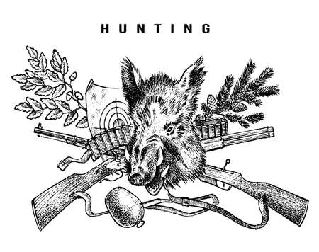 Bandiera del club di caccia. Sfondo di cinghiale e fucile. Personaggi dei cacciatori. Schizzo vintage inciso disegnato a mano per emblema, distintivo ed etichette.
