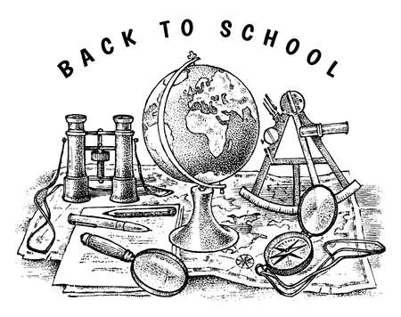 Back to school poster. Geography banner for web. Globe, Binoculars and Map. Vintage outline sketch for emblem, label or badge. Doodle Hand drawn background. Education concept.