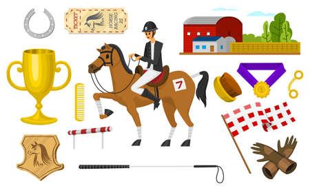 Satz Reiten. Rennsymbole für den Activity Jockey Club. Satz Ausrüstungen für Pferdesportplakat. Zubehör Hufeisen, Peitsche, Pferdesattel, Hippodrom, Pferdezaumzeug für die Dressur.
