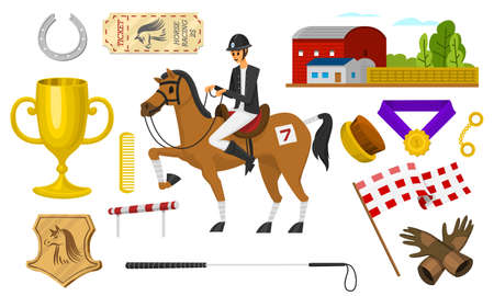 Set of Horseback riding. Racing icons for Activity Jockey club. Set of Equipments for Equestrian Sport poster. Accessories horseshoe, whip, horse saddle,  hippodrome, equine bridle for dressage.