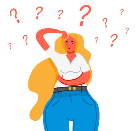 Thinking young woman. Thoughtful people understand the problem. Pensive business lady find successful solution. Cute character. Illustration in cartoon style. Smart female asks a question.