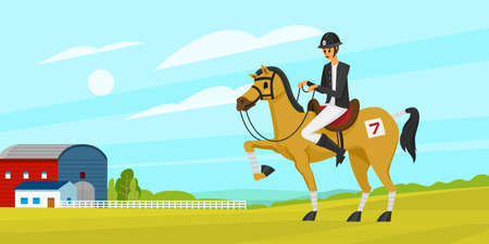 Horseback riding Poster or banner. Racing icons for Activity Jockey club. Equipment's for Equestrian Sport background. Accessories horseshoe, whip, horse saddle,  hippodrome, equine bridle for dressage Illustration