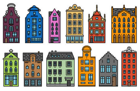 Europe house and apartments. Set of cute architecture in Amsterdam. Neighborhood with classic street and cozy homes. Building and facades for Banner or poster. Doodle sketch. Standard-Bild - 123257527