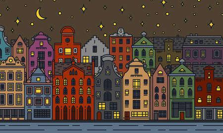 Europe maison et appartements. Nuit de lune à Amsterdam. Architecture mignonne à Amsterdam. Quartier avec rue classique et maisons confortables. Bâtiment et façades pour bannière ou affiche. Croquis de griffonnage.
