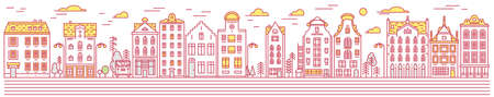 Europe house or apartments Set of Doodle sketch. Cute architecture in Netherlands. Cozy homes for Banner or poster. Building and facades. Flat style.