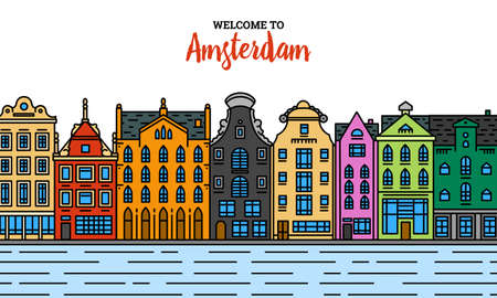 Europe house or apartments. Set of cute architecture in Netherlands. Neighborhood with classic street and cozy homes for Banner or poster. Building and facades. Doodle sketch Flat style.