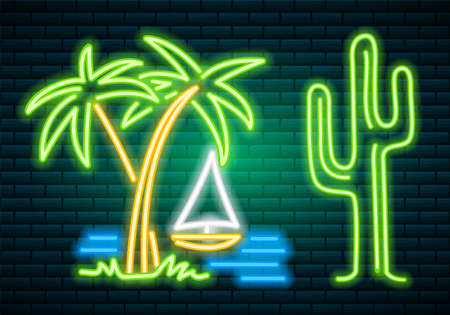 Neon signs and icons. Cactus and tropical plants, palm trees and leaves.  イラスト・ベクター素材