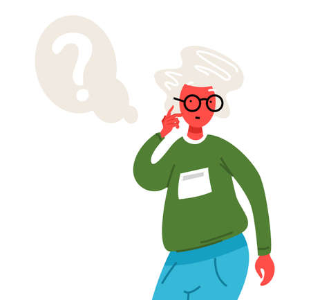 Thinking old woman. Thoughtful people understand the problem. Pensive grandmother find successful solution. Cute character. Illustration in cartoon style. Smart elderly lady asks a question