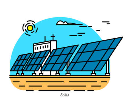Solar power plant. Conversion of concentrated energy from sunlight into electricity. Powerhouse or generating station. Industrial building icon. Photovoltaic effect. Ecological sources of Electricity
