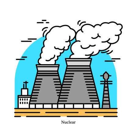 Nuclear power plant.Powerhouse or generating station. Industrial icon. Ecological sources of Electricity, Energy. Used in steam turbines. Technology fission, decay. Fission of uranium and plutonium Illusztráció