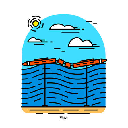 Wave power plant. Energy converter. Powerhouse or generating station. Desalination or pumping water. Industrial building icon. Ecological sources of Electricity Illustration