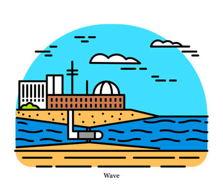 Wind Wave power plant. Energy converter. Powerhouse or generating station. Desalination or pumping water. Industrial building icon. Ecological sources of Electricity Vektorové ilustrace