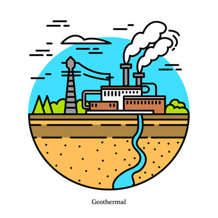 Geothermal power plant. Dry and flash steam powerhouse, binary cycle generating station. Industrial building icon. Ecological sources of electricity and generating energy Illustration