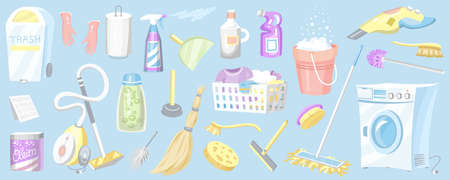 Set of Cleaning tools. Washing machine, Detergents Cleanser, Water bucket for Mopping, Chemicals Appliances for service. House icons for poster. Cartoon Household