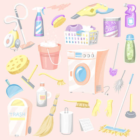 Cleaning tools Set. House icons. Washing machine, Detergents for apartments, Water bucket for Mopping, Chemicals Appliances for service Illustration