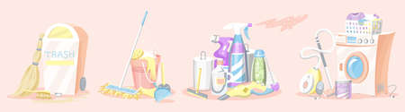Cleaning tools Set. House icons. Washing machine, Detergents for apartments, Water bucket for Mopping, Chemicals Appliances for service  イラスト・ベクター素材