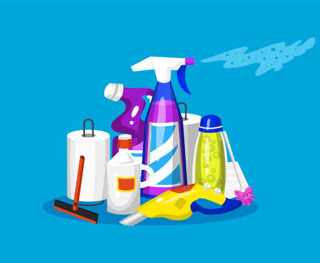 Cleaning tools. Set of House icons for poster. Washing machine, Detergents Cleanser for apartments, Water bucket for Mopping, Vacuum cleaner Scoop, Chemicals Appliances for service. Cartoon Household Illustration