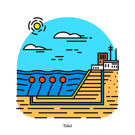 Tidal power plant. Form of hydropower that converts the energy obtained from tides into electricity. Powerhouse or generating station. Industrial building icon. Ecological sources