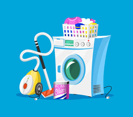 Cleaning tools. House icons for poster. Washing machine, Detergents Cleanser for apartments, Water bucket for Mopping, Vacuum cleaner Scoop, Chemicals Appliances for service. Cartoon Household.