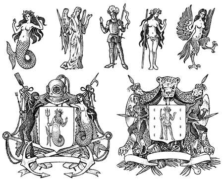 Heraldry in vintage style. Engraved coat of arms with animals, birds, mythical creatures, fish, dragon, unicorn, lion.
