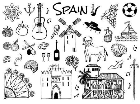 Spanische traditionelle Symbole und Gegenstände. Satz von Zeichen und Symbolen im Vintage-Stil. Handgemalt. Gitarre, Fußball, Musik und Wein.