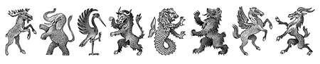 Animales para heráldica en estilo vintage. Escudo grabado con pájaros, criaturas míticas, peces, dragón, unicornio, león.