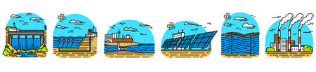 Power plants icons. Industrial buildings. Nuclear Factories, Chemical Geothermal, Solar Wind Tidal Wave Hydroelectric, Fossil fuel, Osmotic generating energy. Set of Ecological sources of electricity. Stock Illustratie