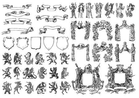 Heraldyka w stylu vintage. Grawerowany herb ze zwierzętami, ptakami, mitycznymi stworzeniami, rybami. Średniowieczne herby królestwa fantasy.