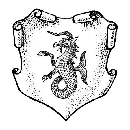 Animal for Heraldry in vintage style. Engraved coat of arms with goat fish, mythical creature. Stock Illustratie