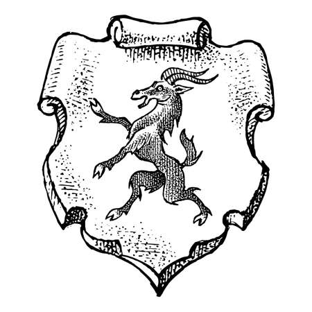 Animal for Heraldry in vintage style. Engraved coat of arms with goat, mythical creature.
