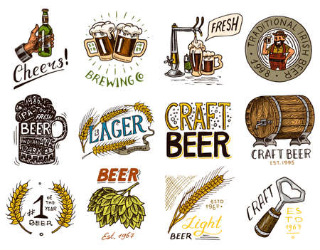 Vintage beer badge. Set of Alcoholic Label with calligraphic elements. Classic American frame for poster banner. Cheers toast. Hand drawn engraved sketch lettering for for web, pub menu.