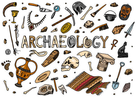 Conjunto de herramientas de arqueología, equipo científico, artefactos. Fósiles excavados y huesos antiguos. Dibujado a mano estilo de dibujo Doodle.