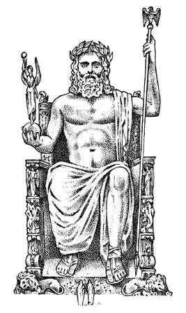 Sette meraviglie del mondo antico. Statua di Zeus ad Olimpia. La grande costruzione dei greci. Schizzo vintage inciso disegnato a mano.