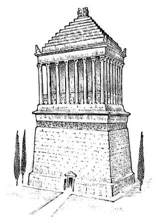 Sieben Weltwunder der Antike. Mausoleum von Halikarnassos Der große Bau der Griechen. Handgezeichnete gravierte Vintage-Skizze.
