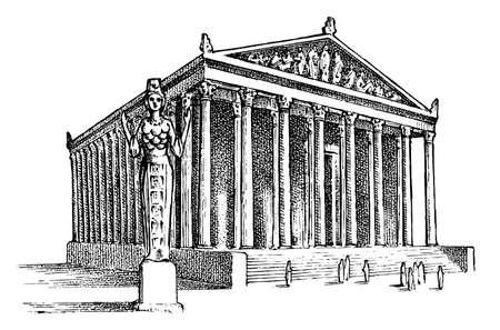 Sette meraviglie del mondo antico. Tempio di Artemide a Efeso. La grande costruzione dei greci. Schizzo vintage inciso disegnato a mano. Vettoriali