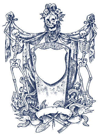 Medieval vintage heraldry. Ornament with calligraphic elements in baroque style. Engraved Frame Template. Decoration for the coats of arms of a fantasy kingdom. Vector sketch hand drawn. Иллюстрация