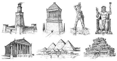 Sieben Weltwunder der Antike. Pyramide von Gizeh, Hängende Gärten von Babylon, Tempel der Artemis in Ephesus, Zeus in Olympia, Mausoleum in Halikarnassos, Koloss von Rhodos, Leuchtturm von Alexandria Vektorgrafik