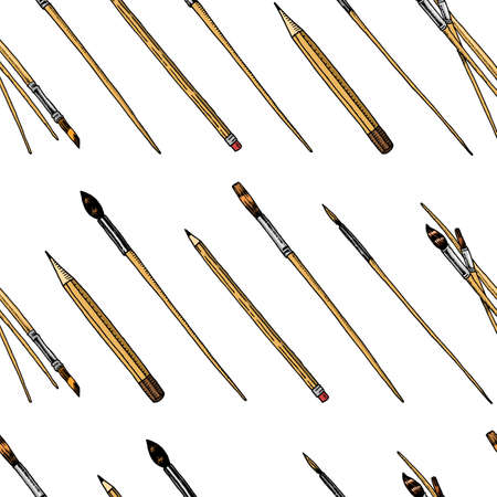 Brushes and pencils seamless pattern. Tools and materials of the artist for drawing. Craft creative people. Equipment in Doodle style. Engraved hand drawn sketch  background.
