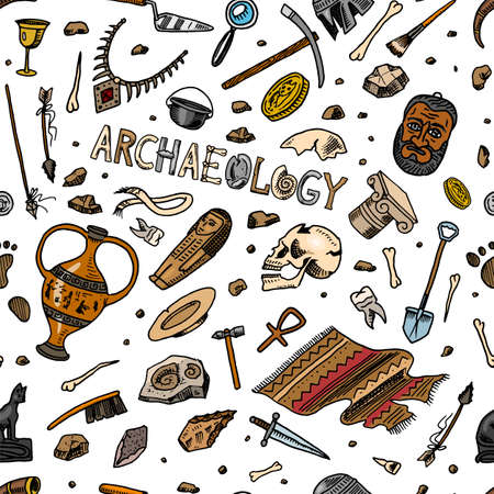 Archeology seamless pattern. Tools and science equipment, artifacts in vintage style. Excavated fossils and ancient bones on an orange background. Hand drawn Doodle sketch. Çizim