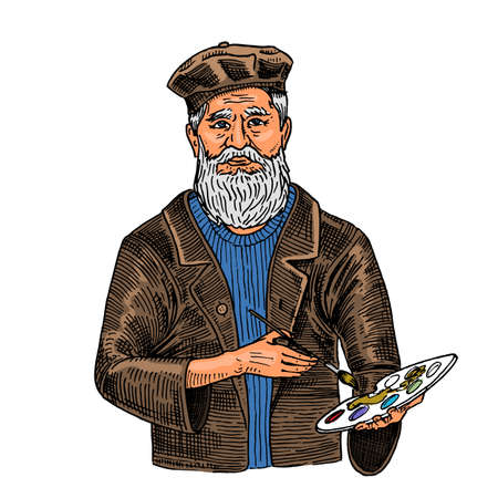 Bearded creative man on a white  background with paints. Artist in a hat for a poster or banner. Drawn by hand in the vintage style sektch. Çizim