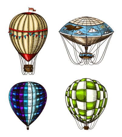 Hot Air Balloons. Vector retro flying airships with decorative elements. Template transport for Romantic logo. Hand drawn Engraved vintage sketch. Çizim