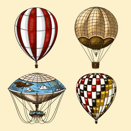 Globos aerostáticos. Vector de aeronaves voladoras retro con elementos decorativos. Transporte de plantilla para logo romántico. Boceto vintage grabado dibujado a mano.