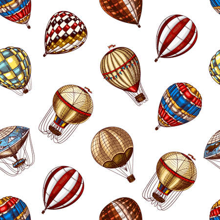 Hot Air Balloons seamless pattern. Vector retro flying airships. Template transport for Romantic background. Hand drawn Engraved vintage sketch. Çizim