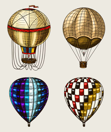Retro Hot Air Balloons. Vector flying airships with decorative elements. Template transport for Romantic logo. Hand drawn Engraved vintage sketch.