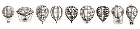 Vintage hot air balloons. Cute flying retro transport for summer holidays. Engraved Hand Drawn Sketch. Çizim