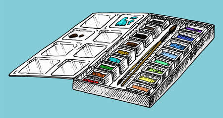 Paint palette. Tools and materials of the artist for drawing in the art salon. Craft creative people. Engraved hand drawn sketch in Doodle style. Çizim