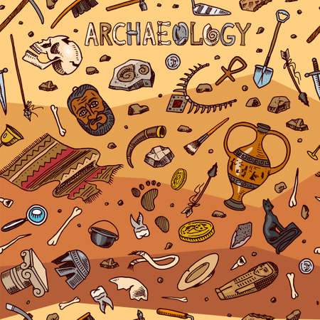 Archeology seamless pattern. Tools and science equipment, artifacts in vintage style. Excavated fossils and ancient bones on an orange background. Hand drawn Doodle sketch. Illusztráció