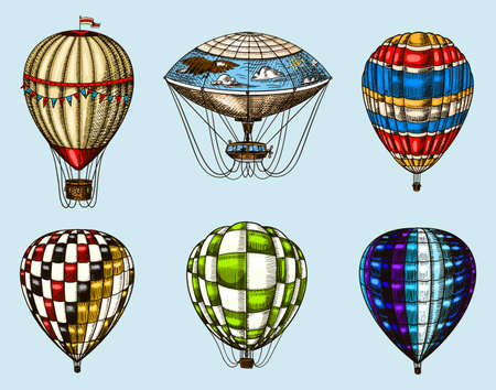Hot Air Balloons on a blue background. Vector retro flying airships with decorative elements. Template transport for Romantic logo. Hand drawn Engraved vintage sketch. Çizim