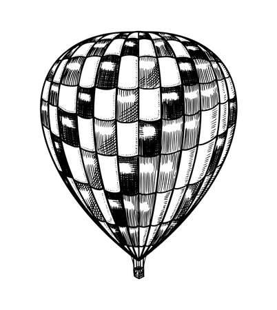 Vintage Hot Air Balloon. Vector retro flying airship with decorative elements. Template transport for Romantic logo. Hand drawn Engraved sketch.